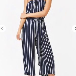 Forever 21 navy striped strapless jumpsuit